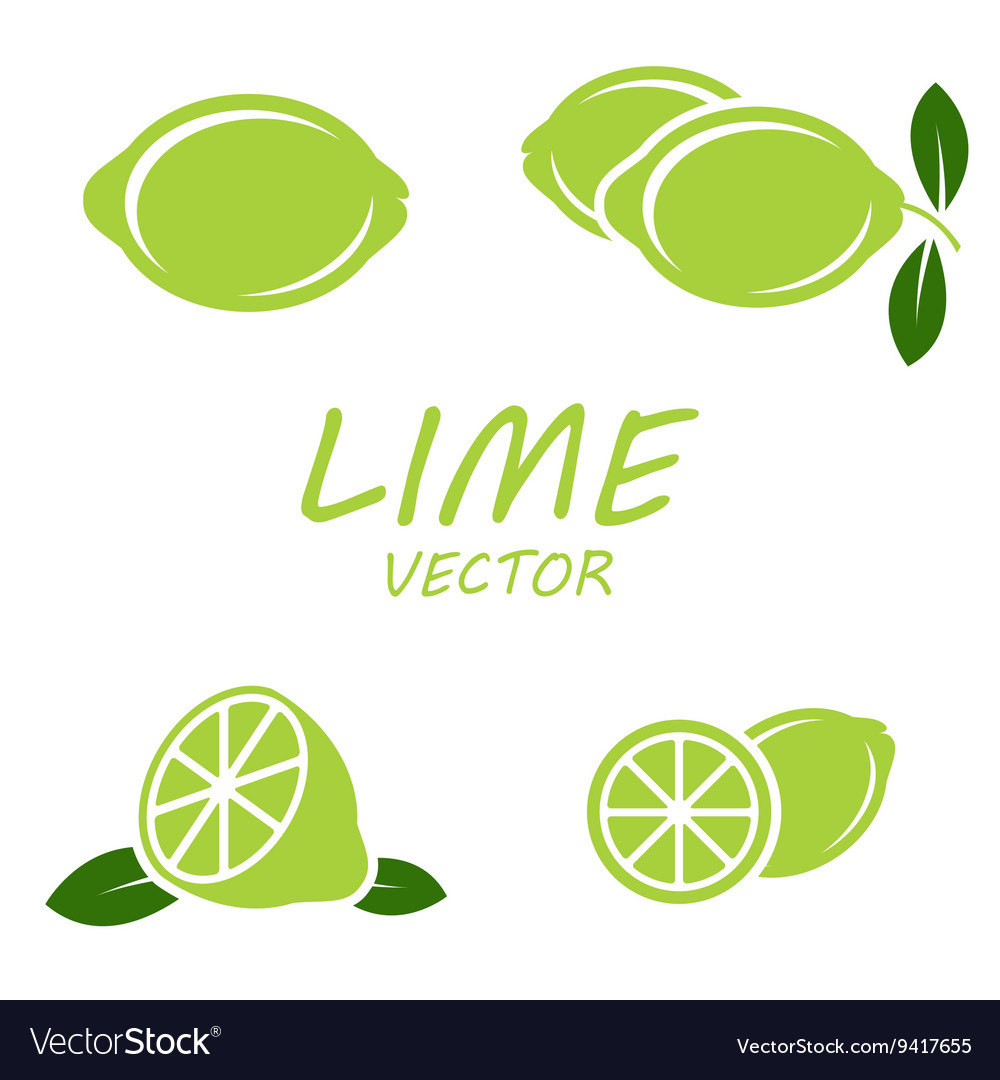Flat lime icons set