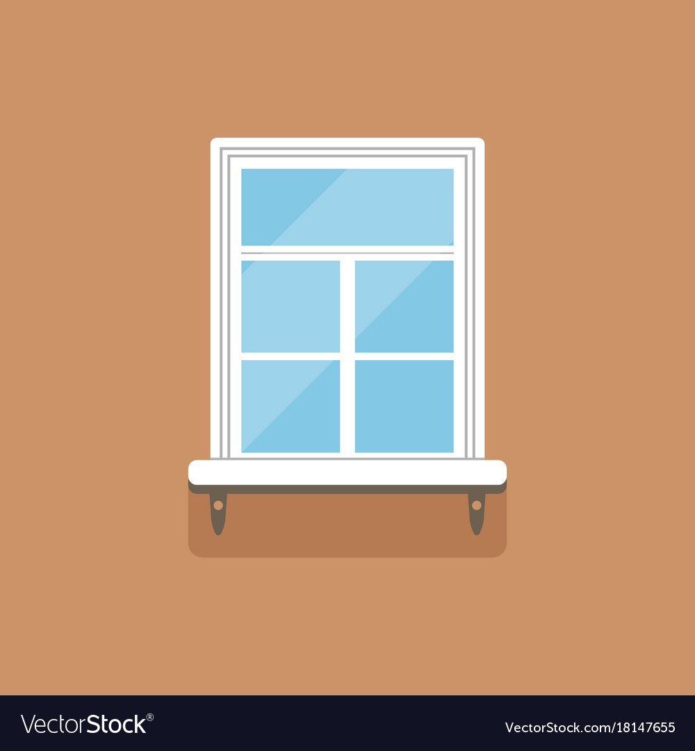 Flat window with decorative facade cornice on
