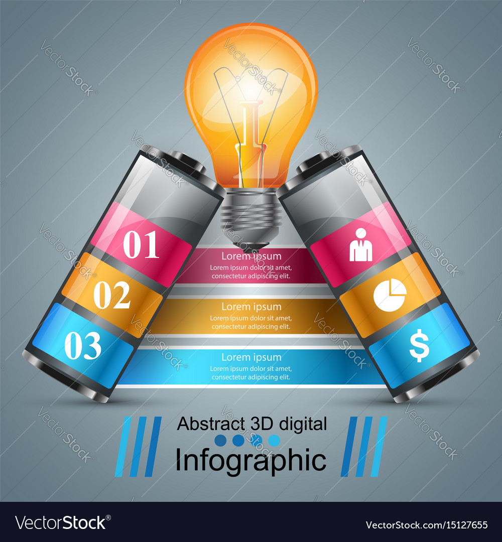 Infographic design bulb battery icon vector image