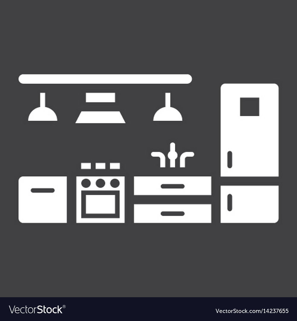 Kitchen furniture solid icon and interior