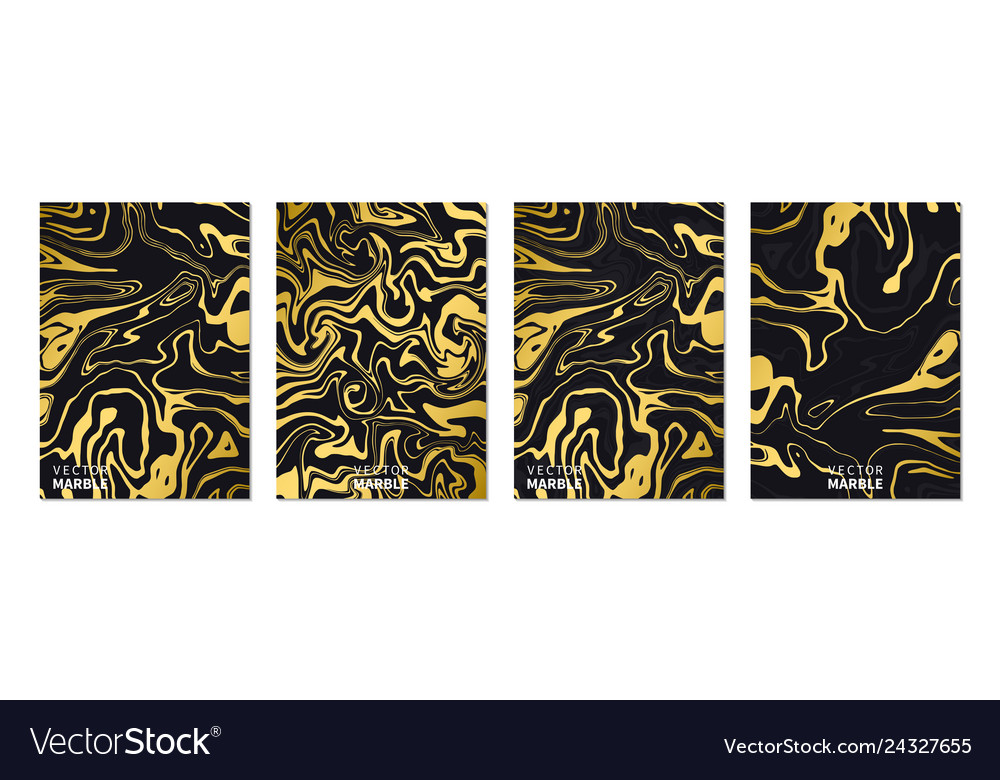 Liquid marble texture in gold vertical banners