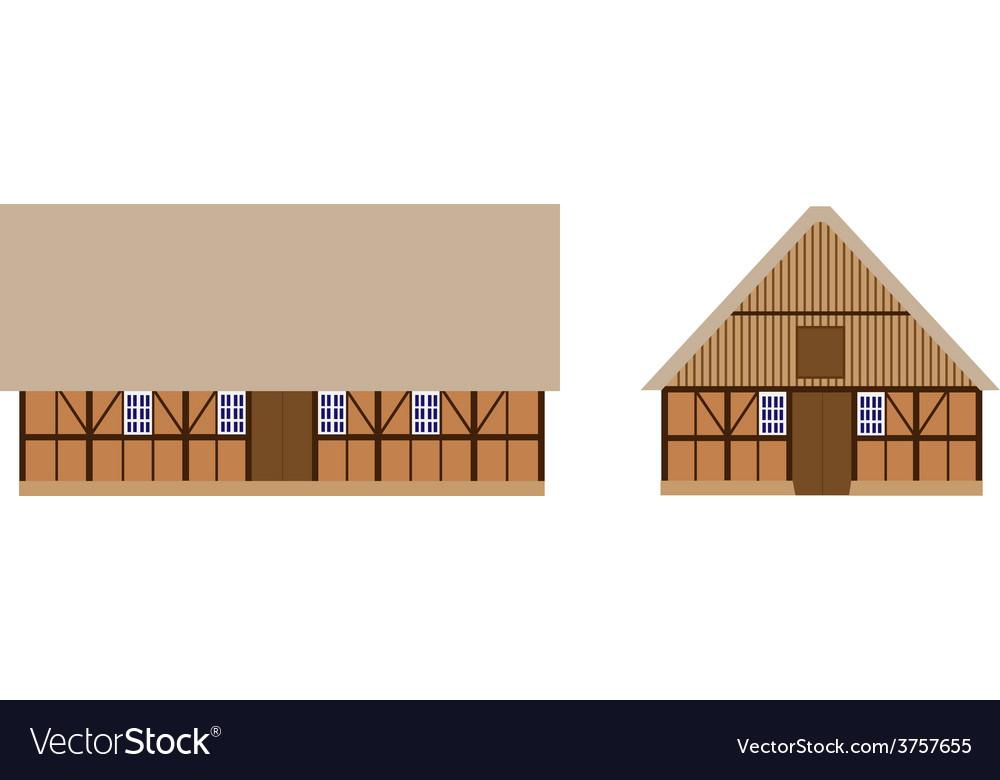 Old barns set vector image