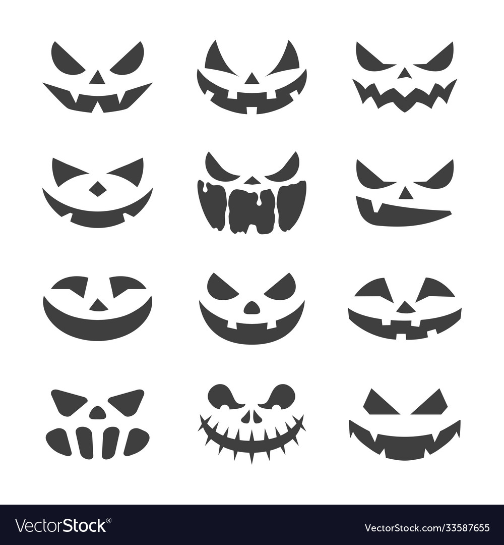 Scary pumpkins face black on white background