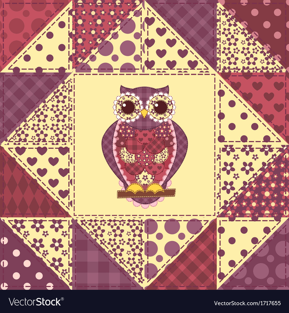 Seamless patchwork owl pattern 2