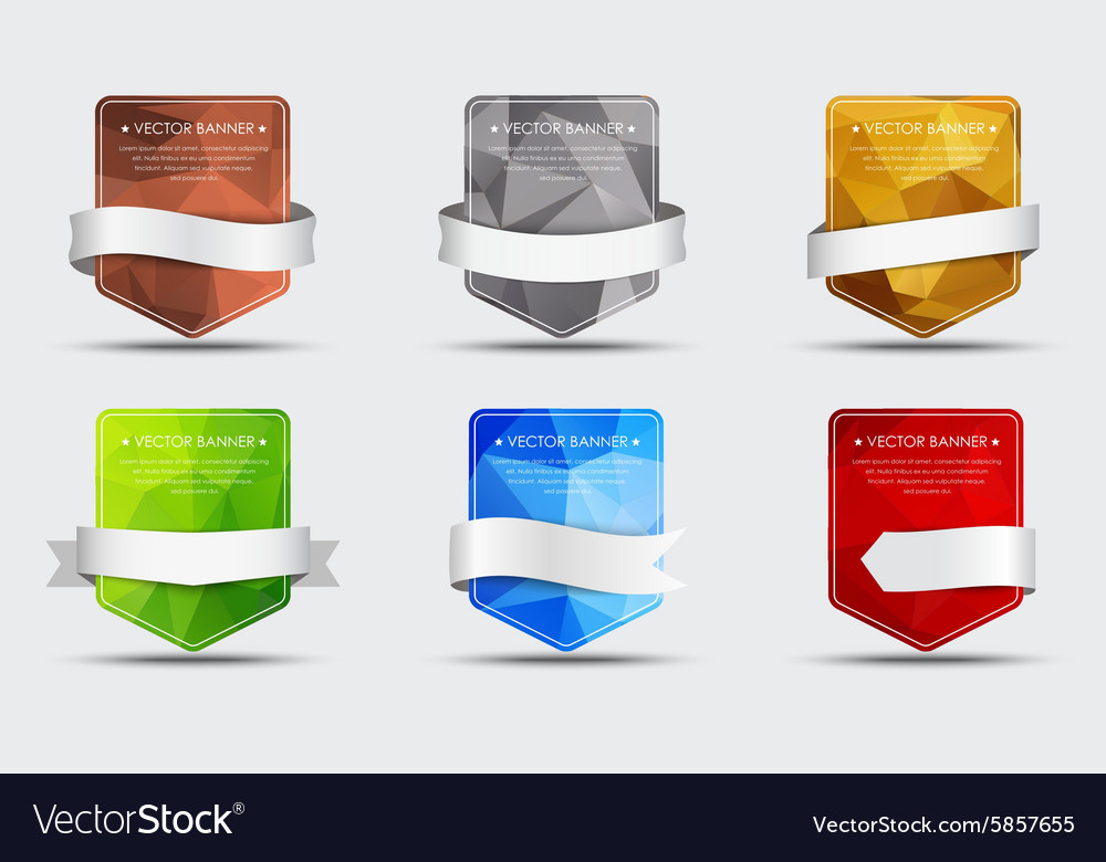 Set banners with a polygonal background and