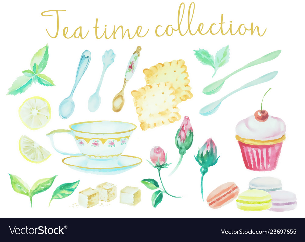 Tea time vintage watercolor cups spoons flowers