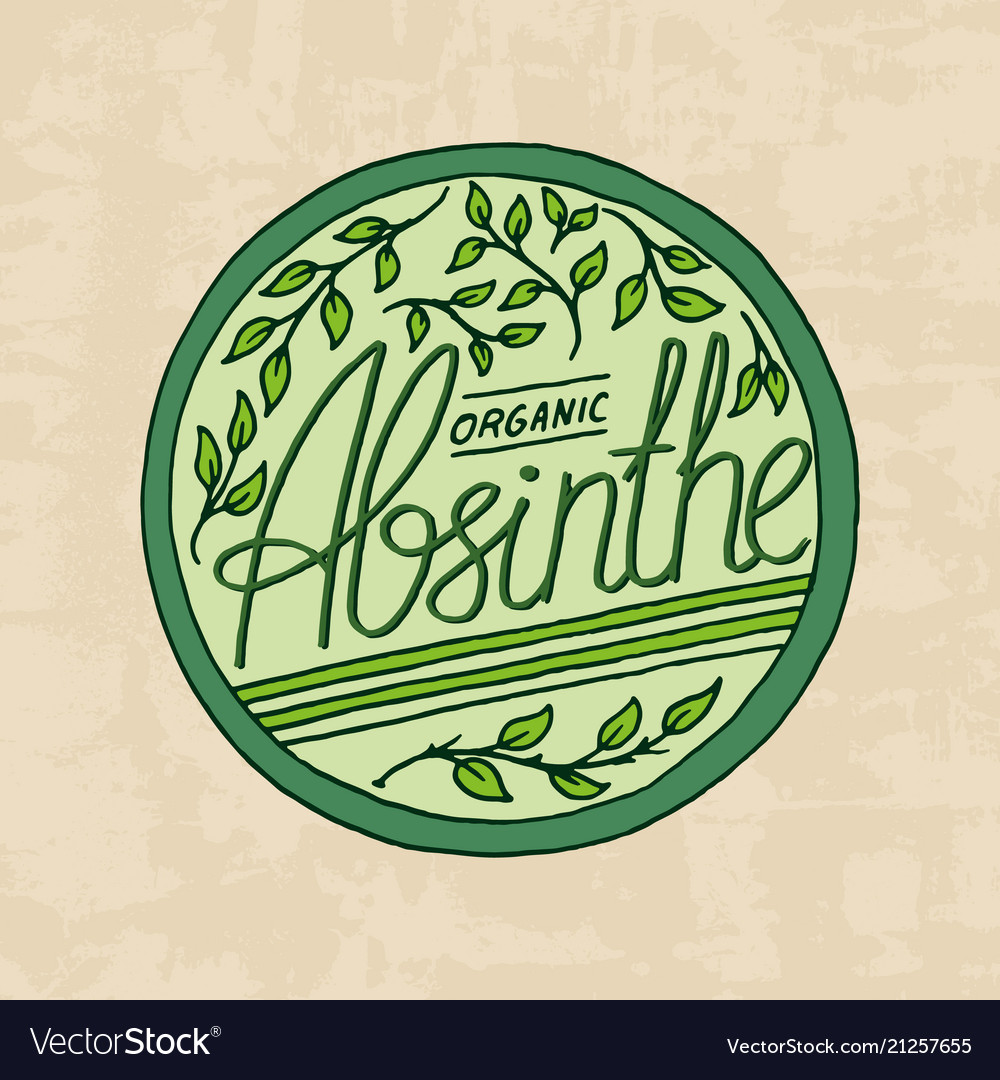 Vintage absinthe label badge strong alcohol logo