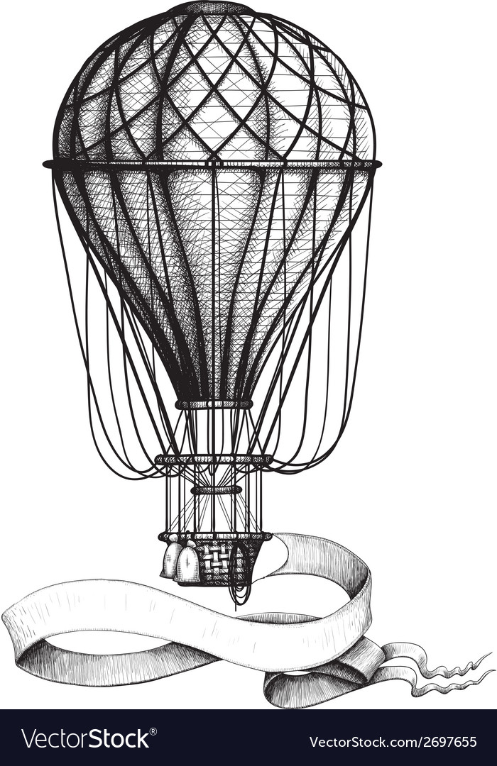 Vintage hot air balloon with banner