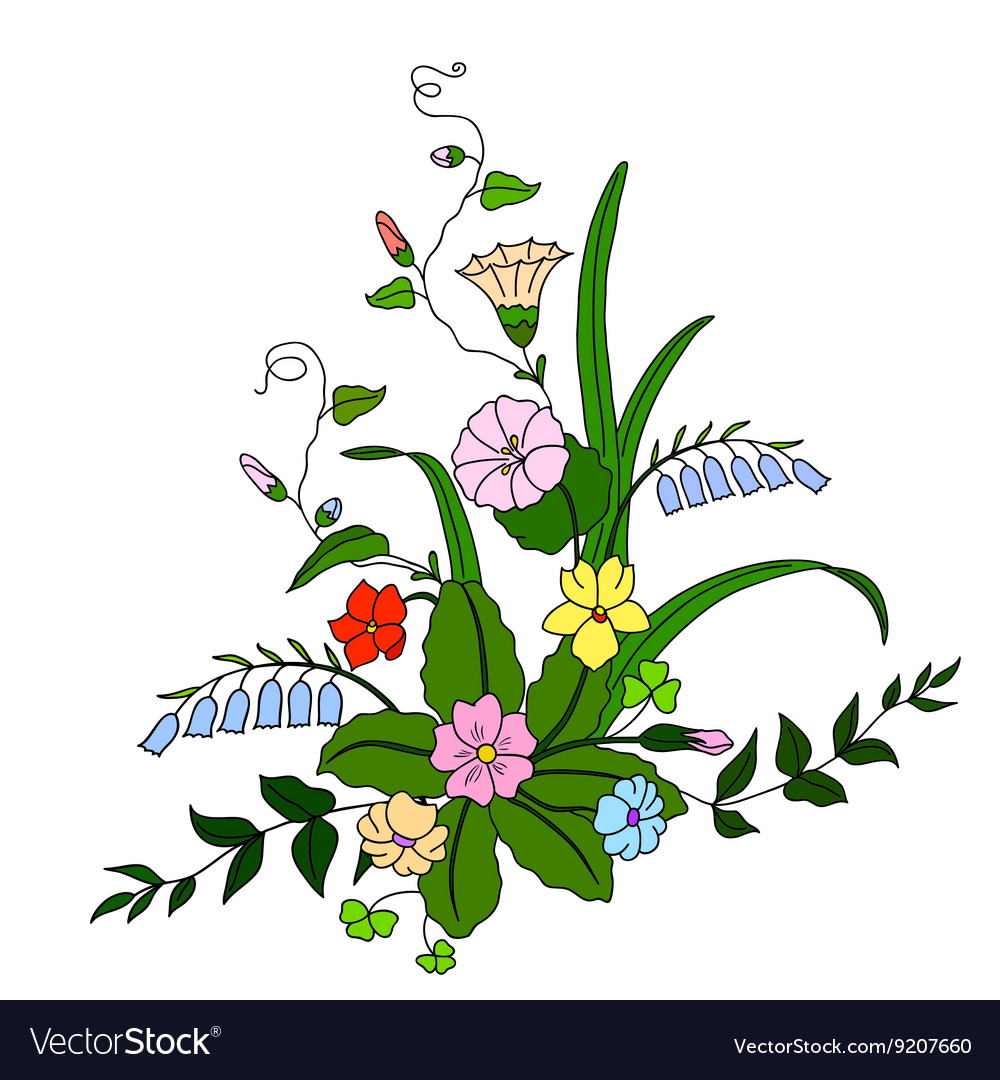 Beautiful bouquet of wild flowers royalty free vector image beautiful bouquet of wild flowers vector image izmirmasajfo