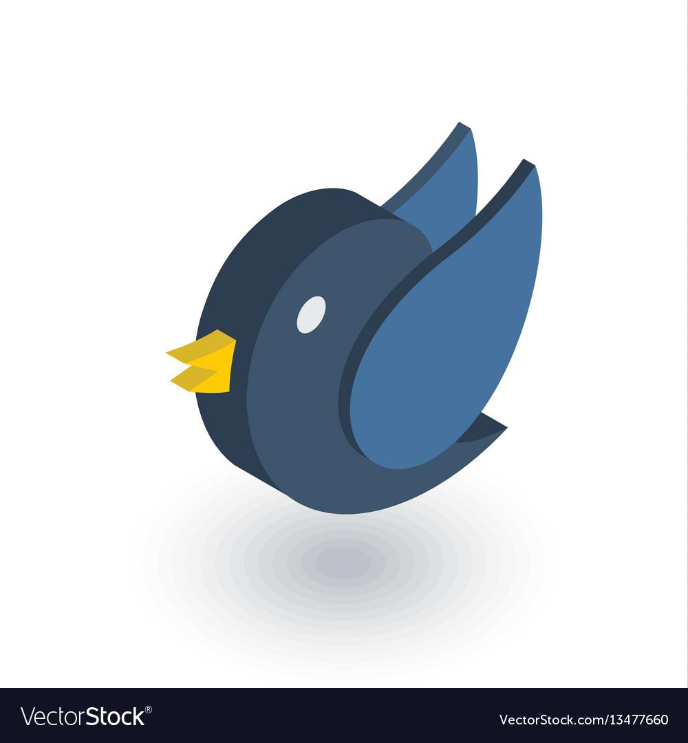 Bird message symbol tweet isometric flat icon