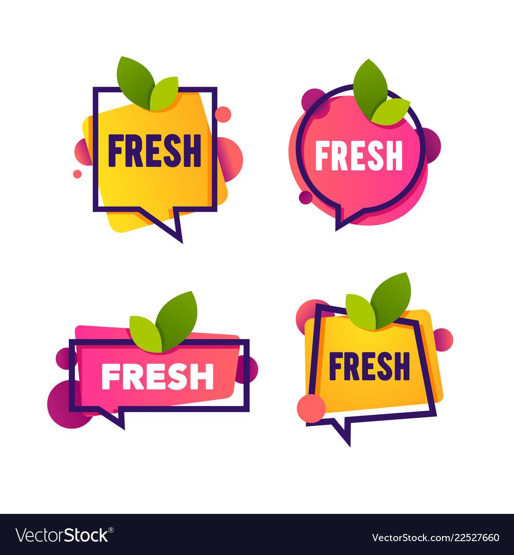 Bright speech bubble sticker with leaf fresh word