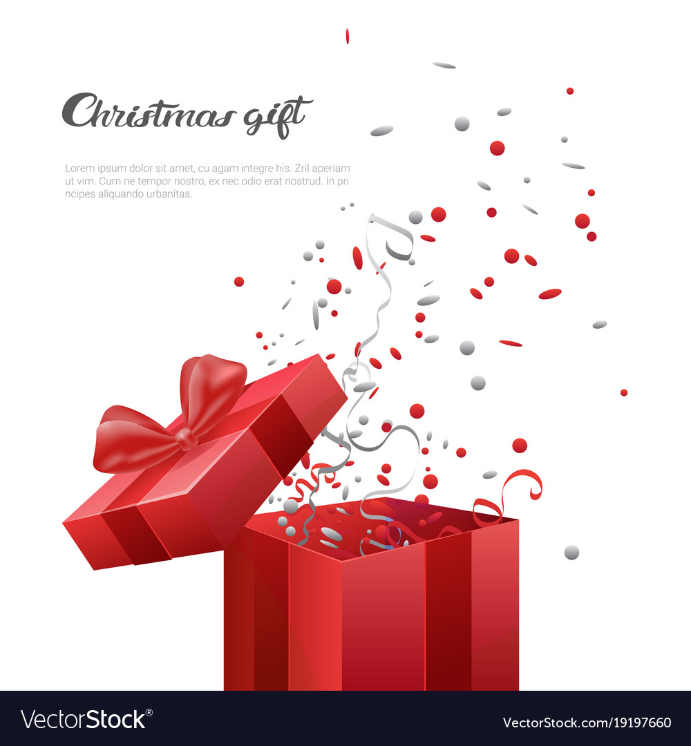 Christmas Gift Box Template.Christmas Gift Box New Year Present Template