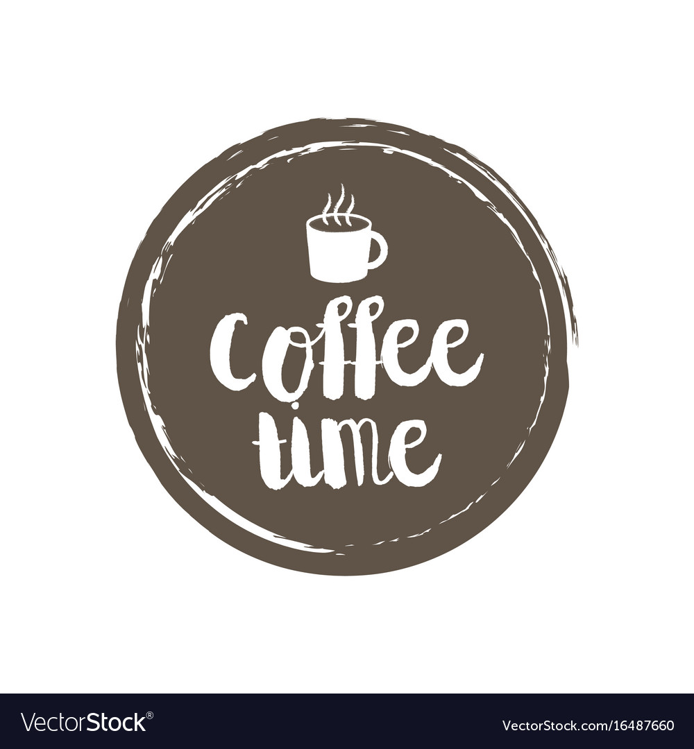 Coffe menu letters and cup grunge circle
