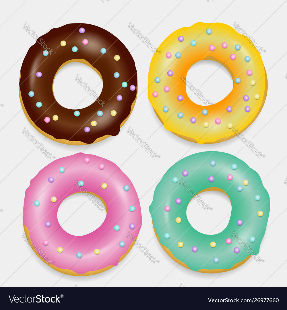 Donut set hand drawn bakery design pop art