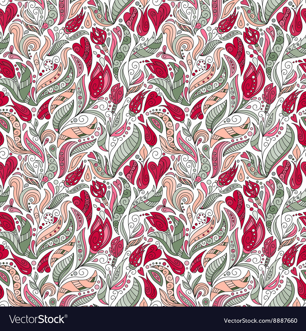 Flower pattern Seamless botanic texture vector image
