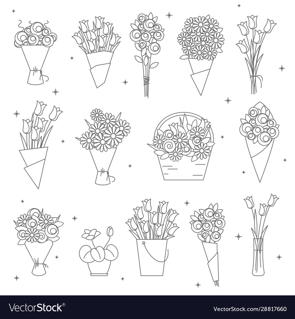 Flowers and bouquet icons