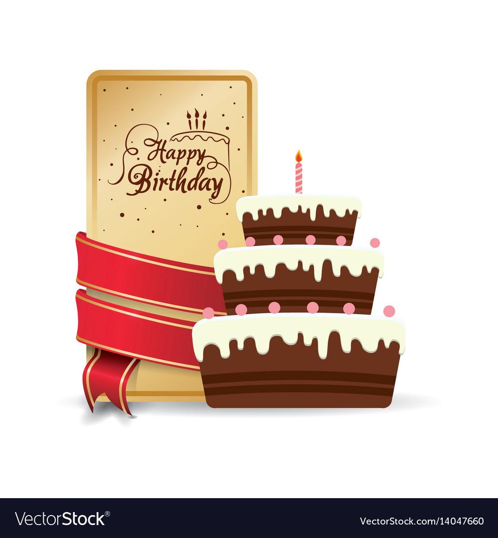Happy Birthday Cake Sweet Decorative Card Ribbon Vector Image