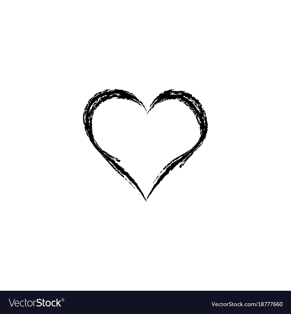 Heart black on white background sign vector image