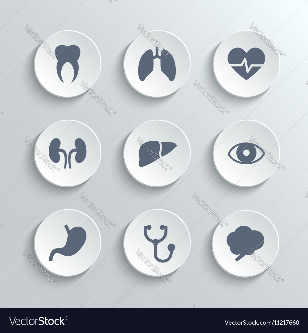 Medical icons set - white round buttons