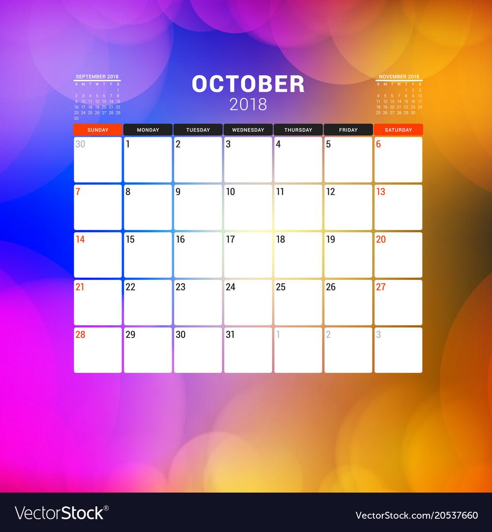 october 2018 calendar planner design template vector image
