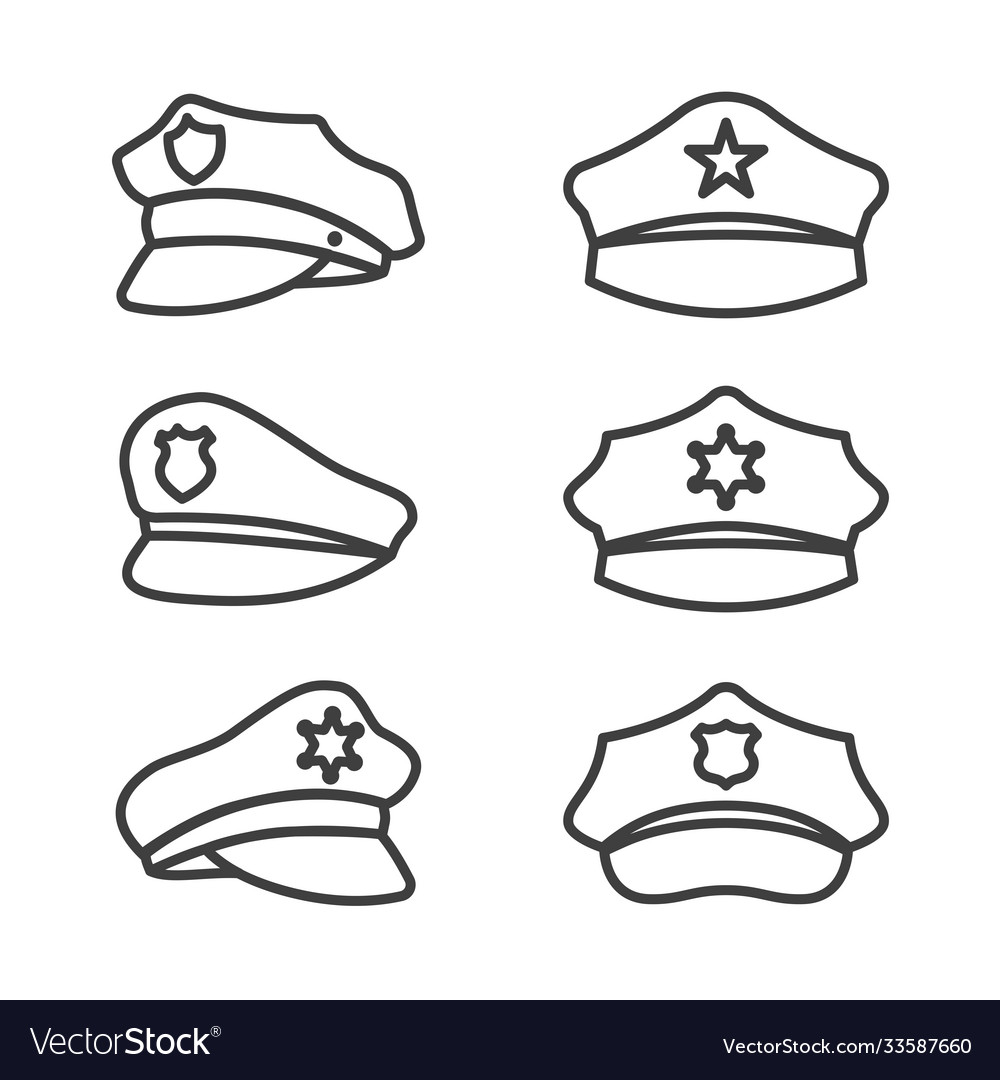 Police hat line icon set on white background