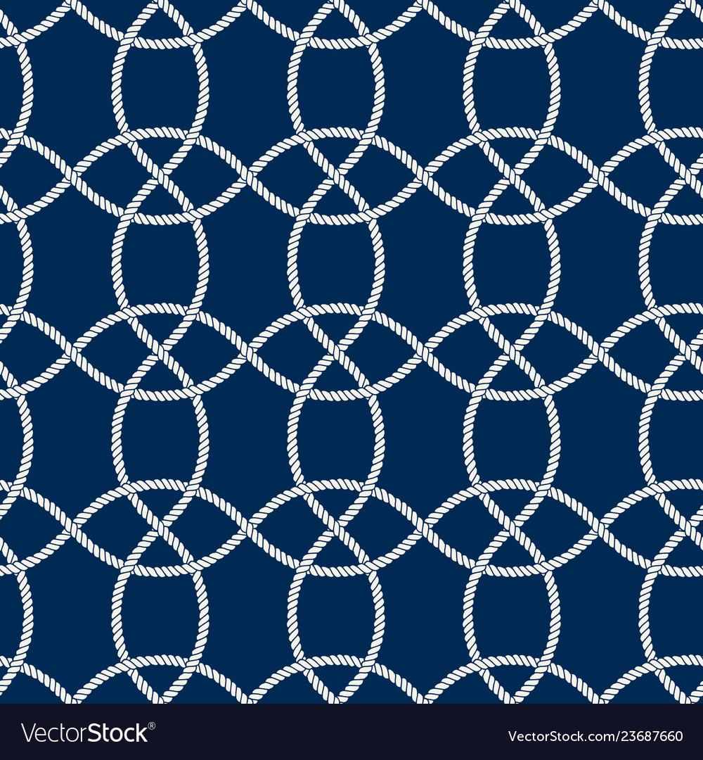 Seamless nautical rope pattern white on dark blue