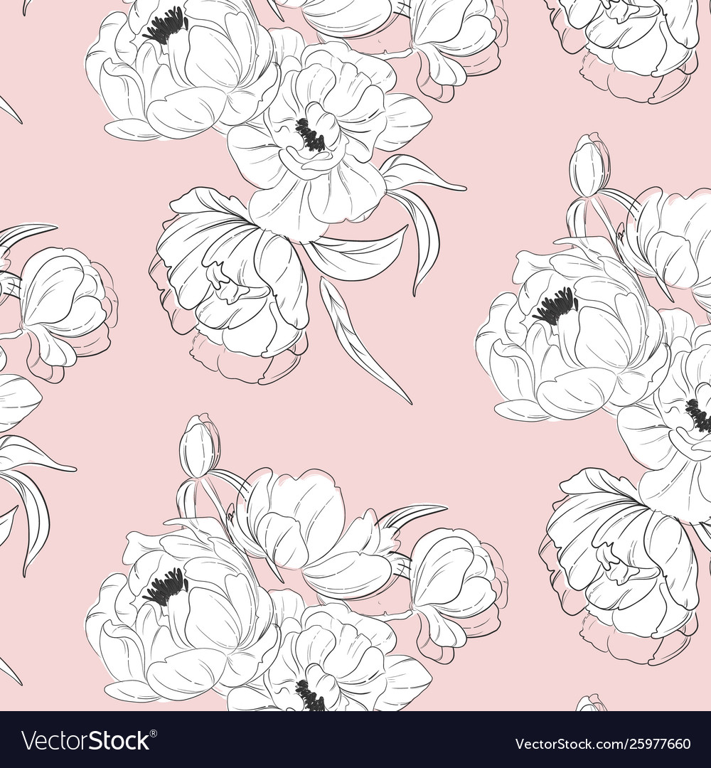 Tender white black peony floral decoration with