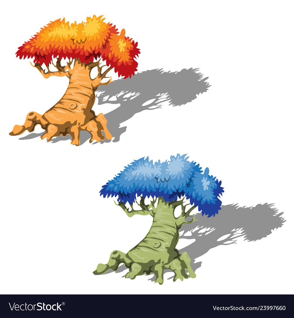 The old fantasy trees with a blue and orange tree