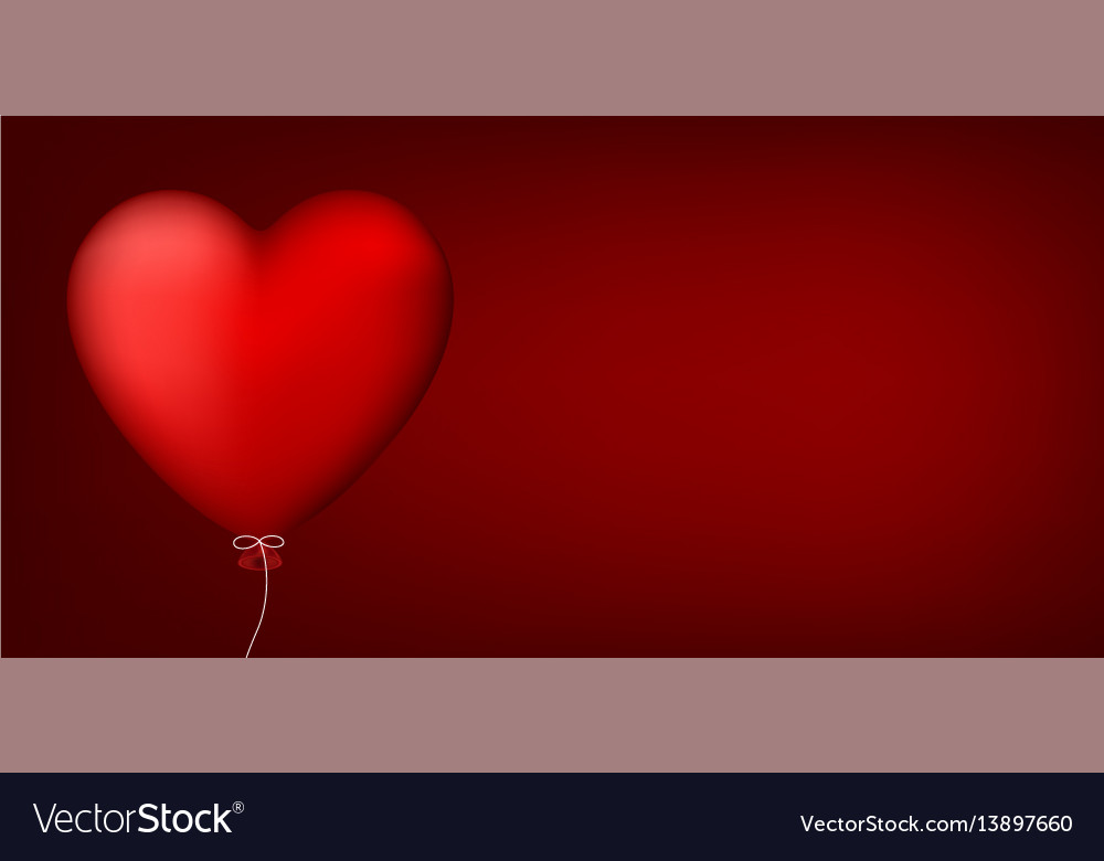 Valentines love banner with heart vector image
