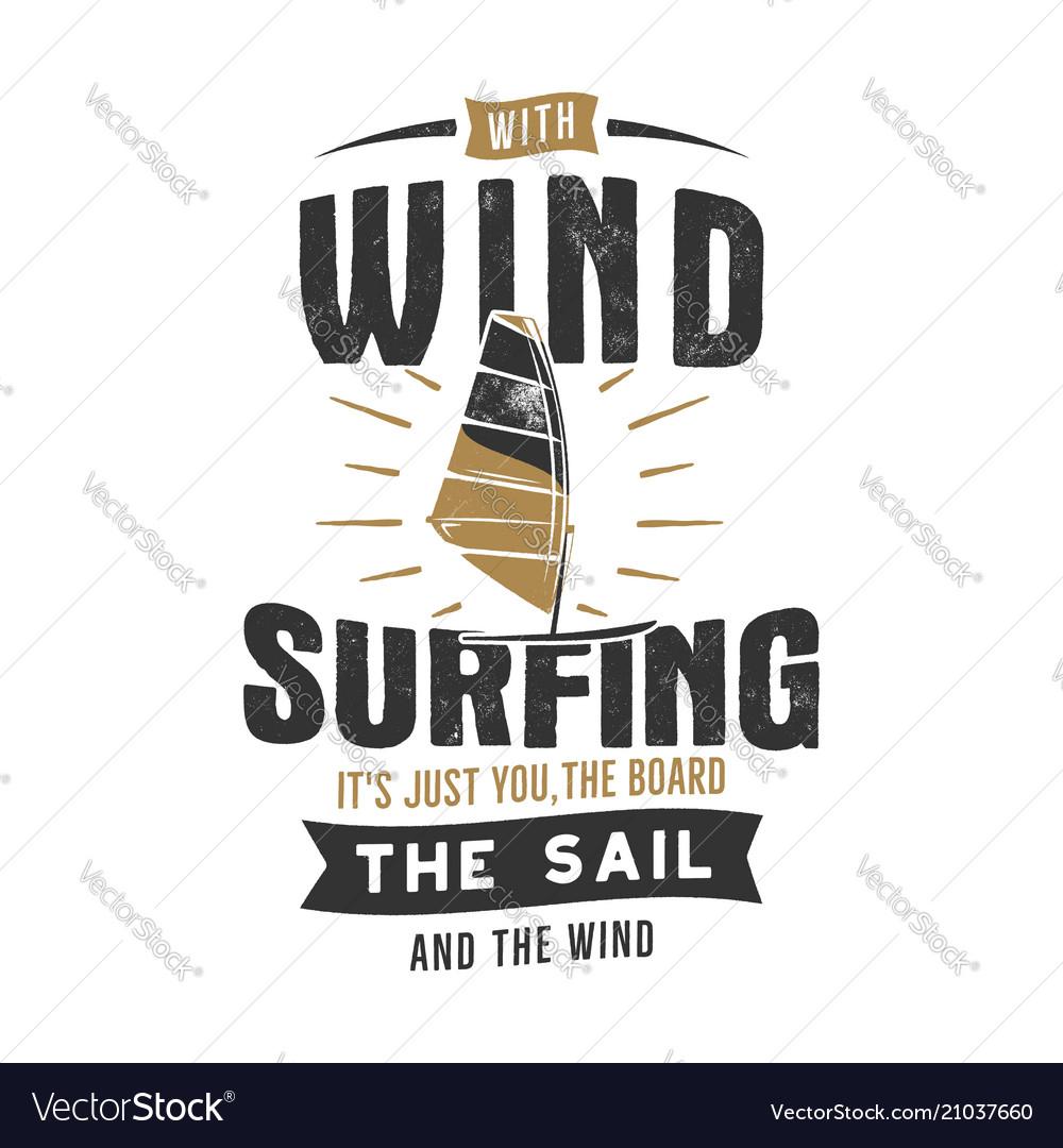 Vintage hand drawn windsurfing kitesurfing tee