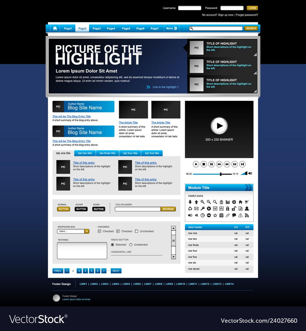 Web design website element template button