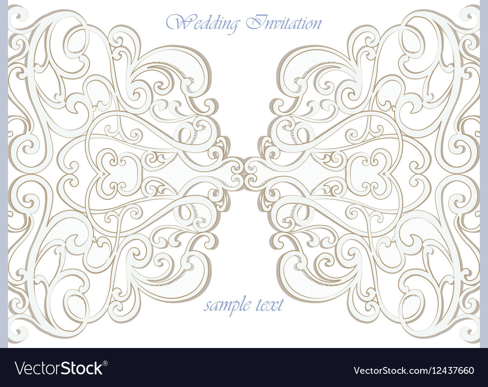 Wedding invitation card with lace ornament vector image stopboris Image collections