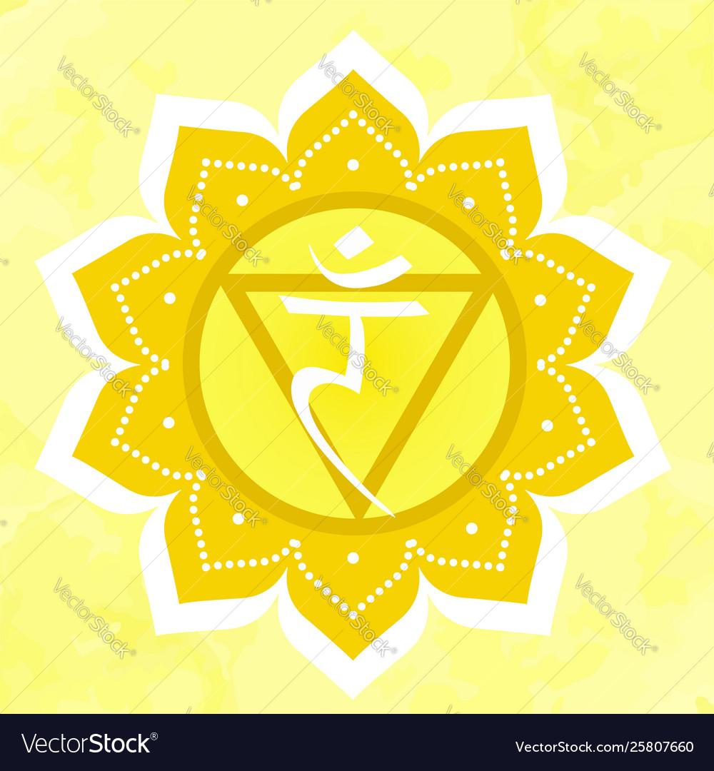With manipura chakra symbol on