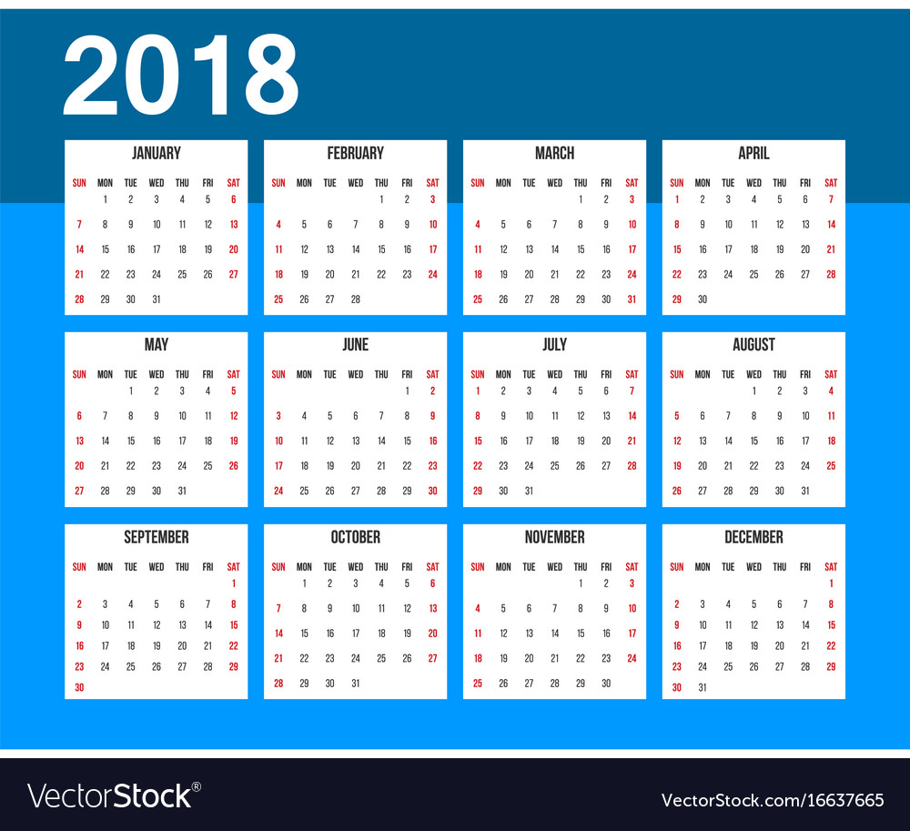 American calendar 2018 week starts on sunday