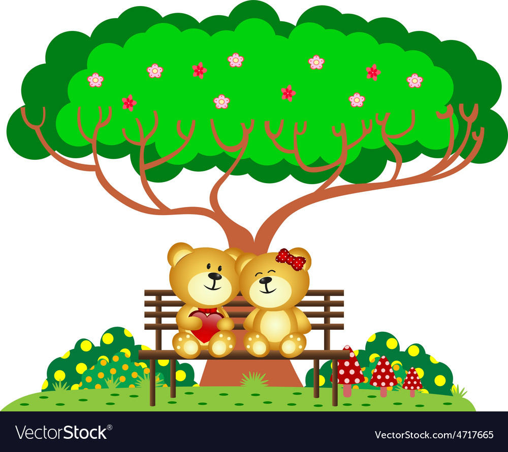 Bear Couple in love sitting on a bench under a tre vector image