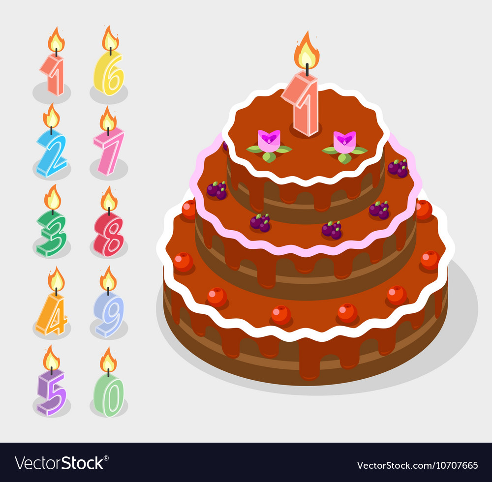 Groovy Birthday Candles Fire Numbers 3D Isometric Vector Image Birthday Cards Printable Nowaargucafe Filternl