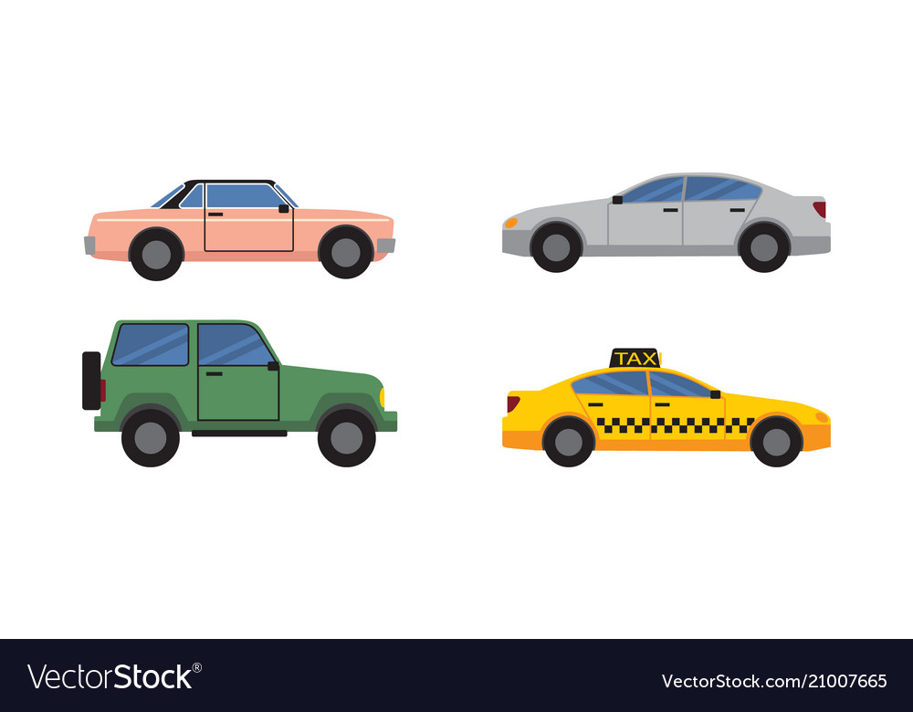 Cars set of different color