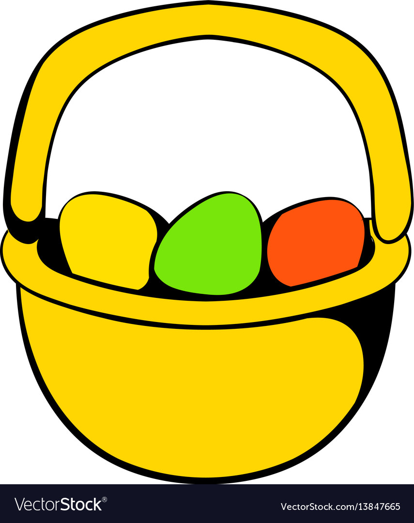 Colorful easter eggs in basket icon