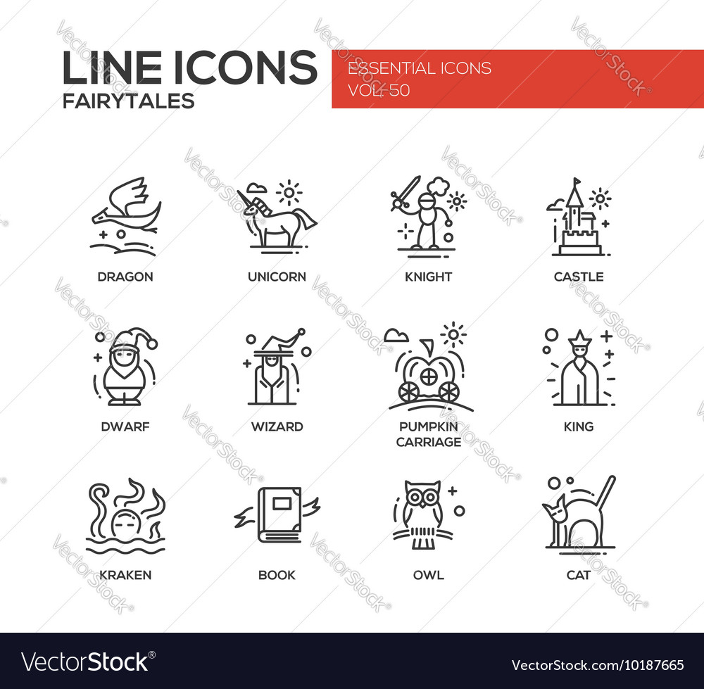 Fairy Tales- flat design line icons set