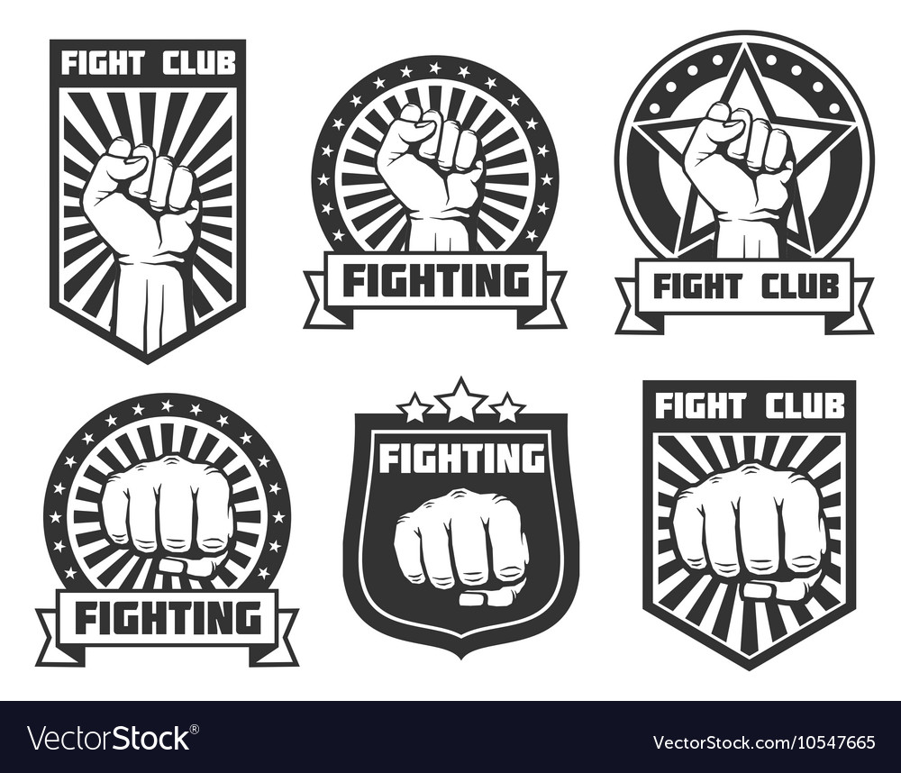 Fight club with fist vintage labels logos