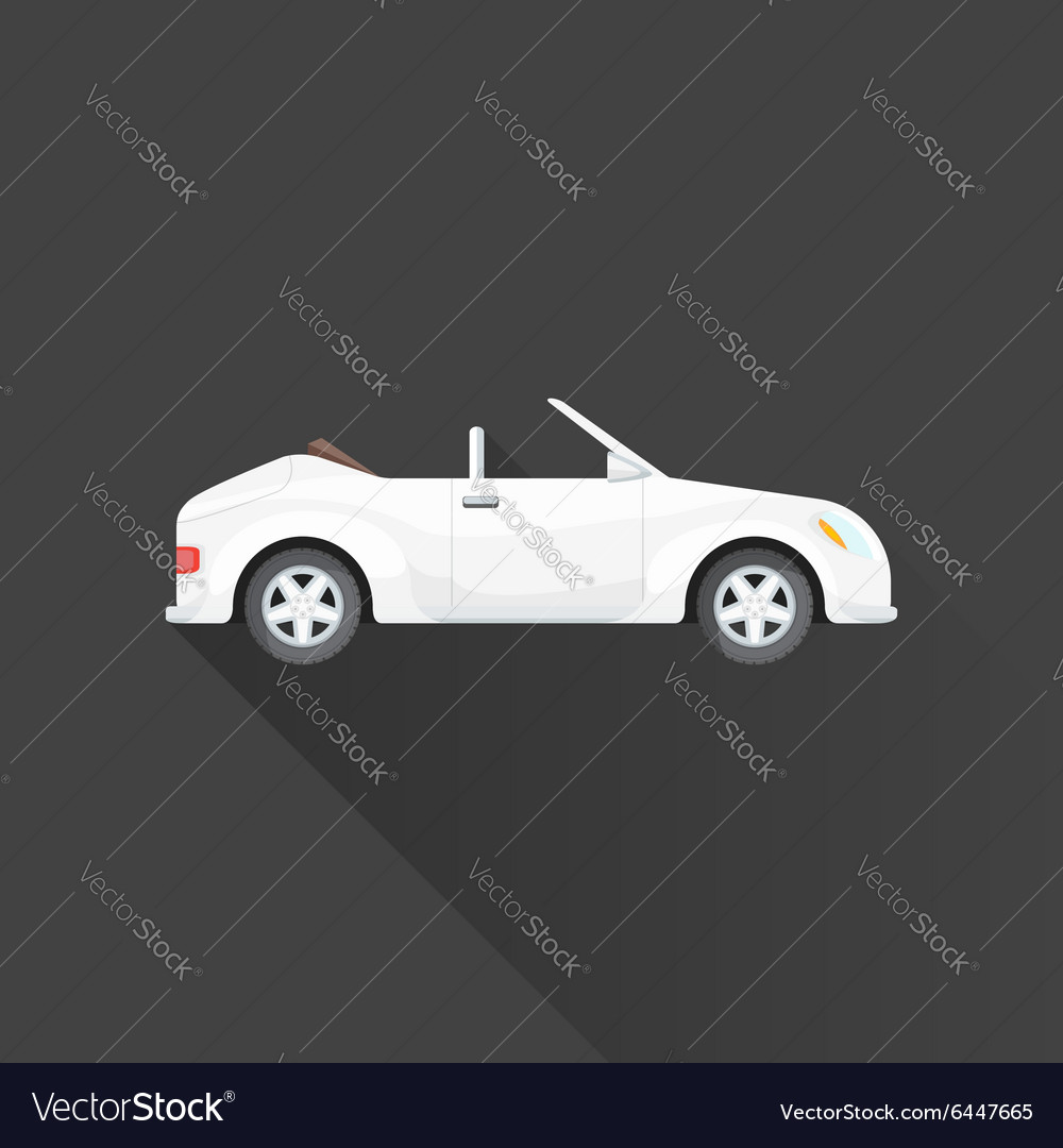 Flat cabriolet roadster car body style icon