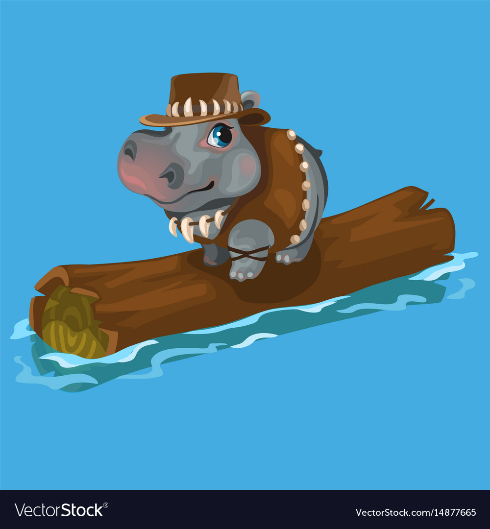Hippopotamus hunter swimming a river on a log vector image