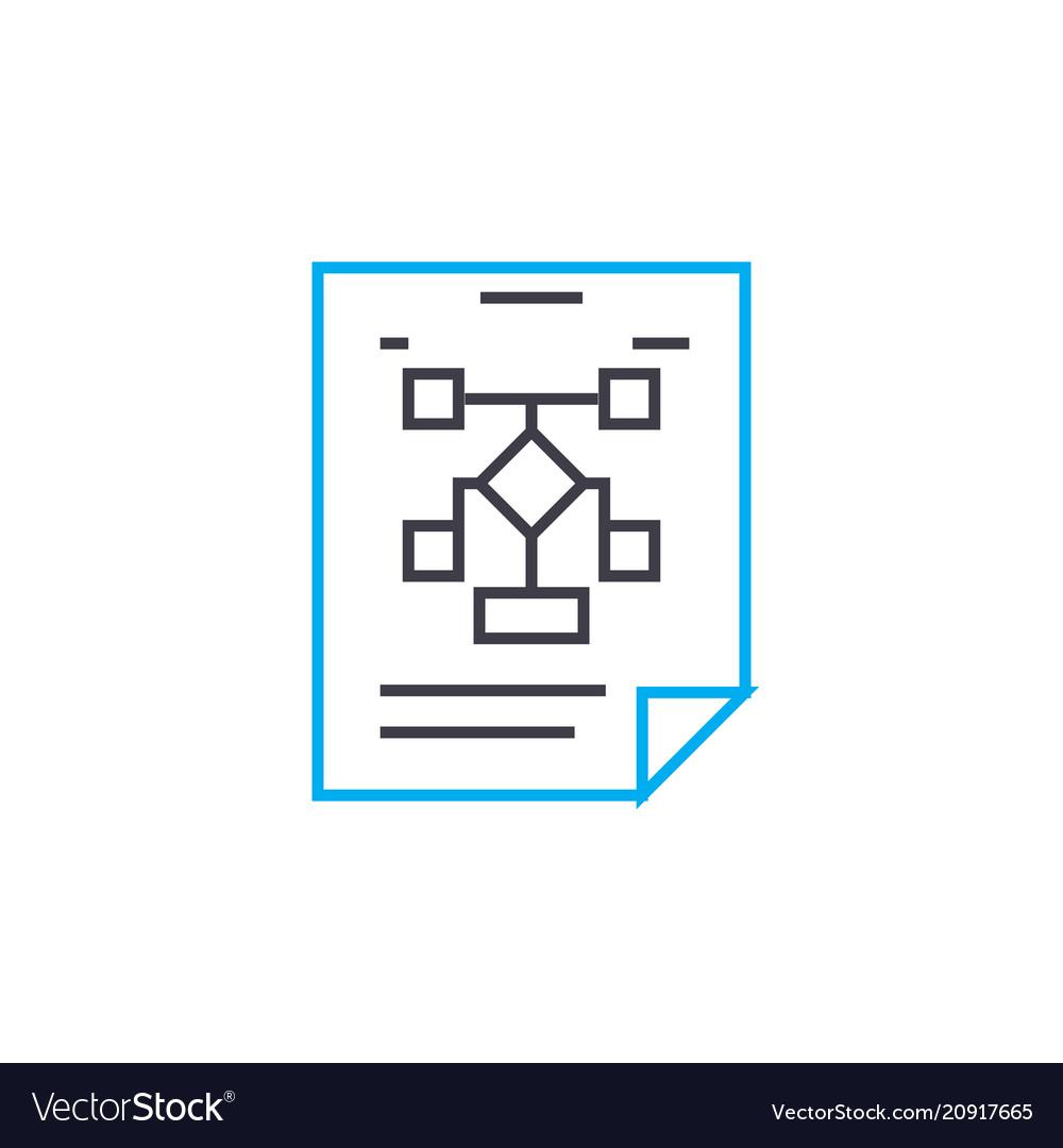 Organizational workflow plan linear icon concept