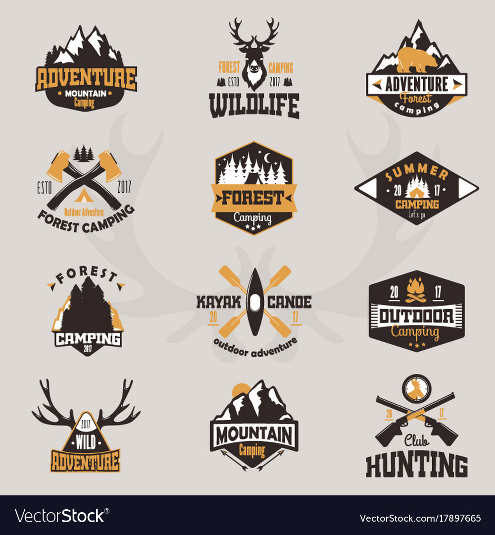 Outdoor tourist travel logo scout badges template vector image
