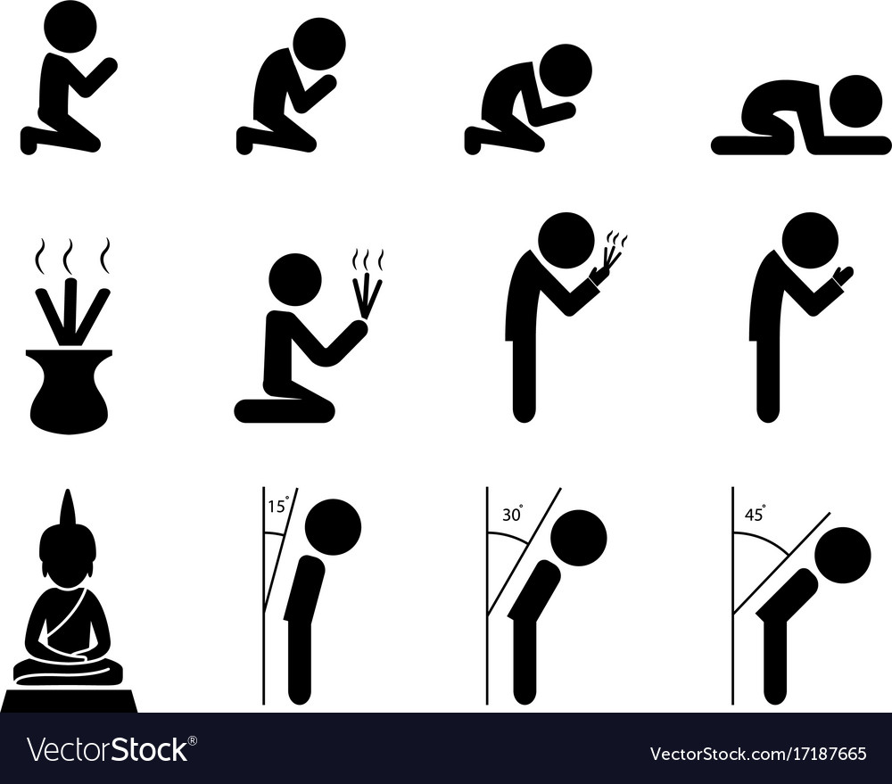 Respect and prayer icon in asian style vector image