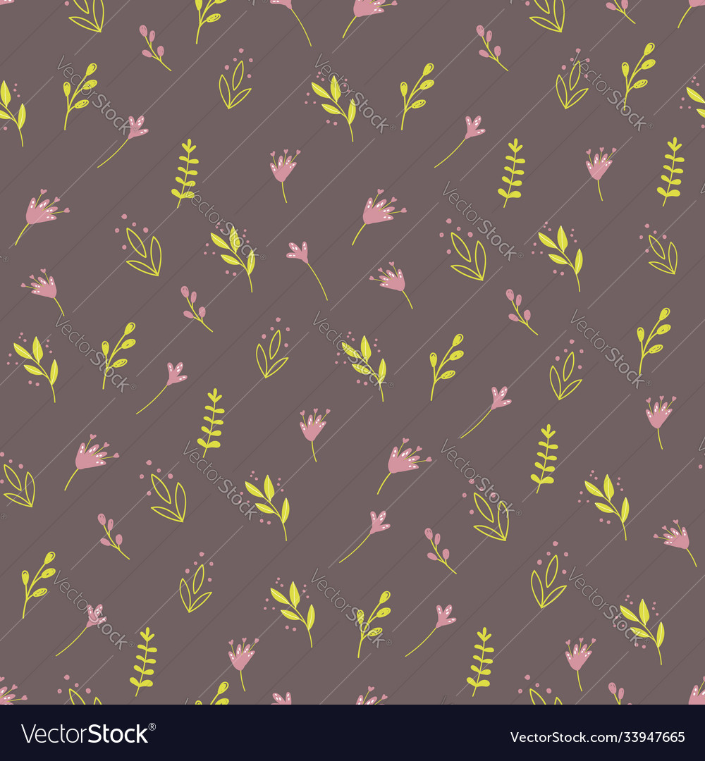 Seamless pattern with colorful wild plants and