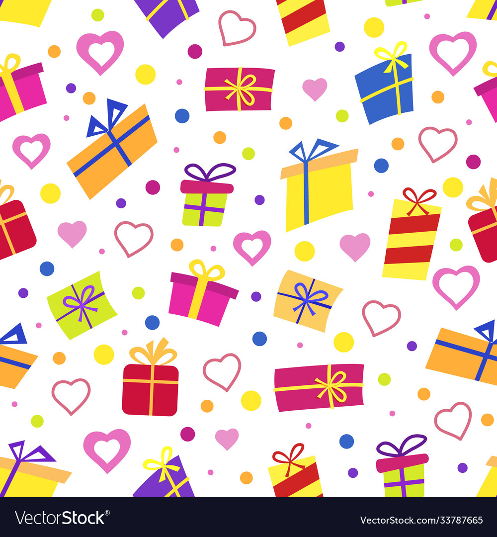 Seamless pattern with gifts many gift