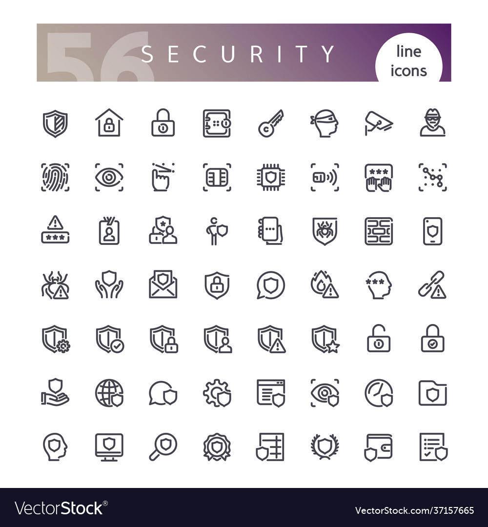 Security line icons set