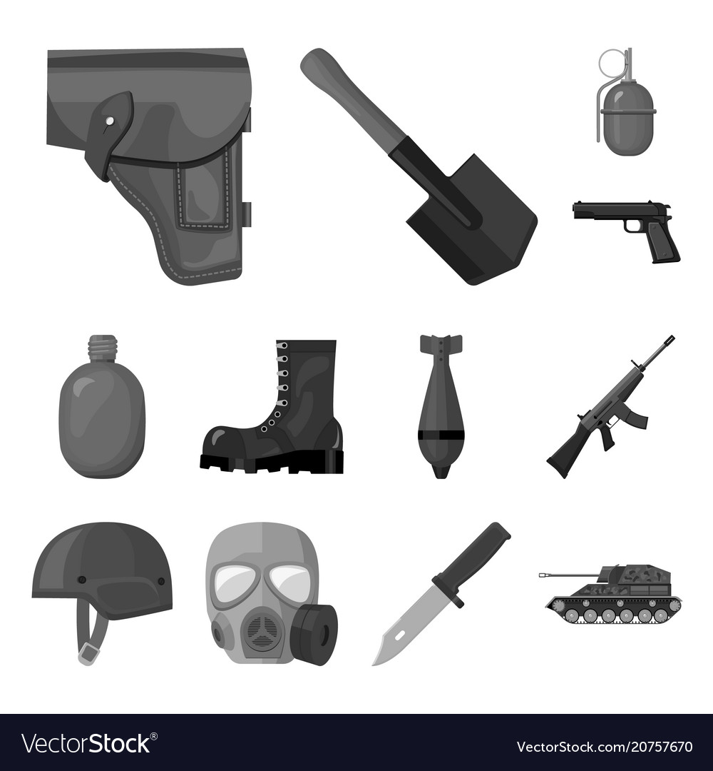 Army and armament monochrome icons in set
