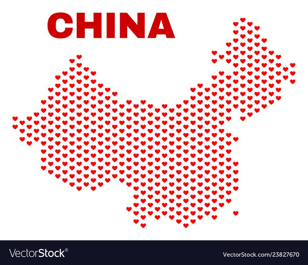 China map - mosaic of love hearts